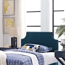 View Product - Laura Twin Upholstered Fabric Headboard in Azure