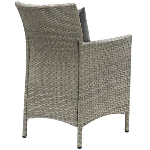 Conduit 5 Piece Outdoor Patio Wicker Rattan Dining Set in Light Gray Charcoal