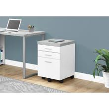 See Details - FILING CABINET - 3 DRAWER / WHITE / CEMENT-LOOK ON CASTOR