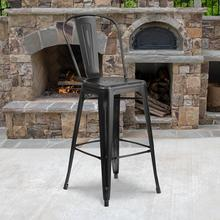 "Commercial Grade 30"" High Distressed Black Metal Indoor-Outdoor Barstool with Back"