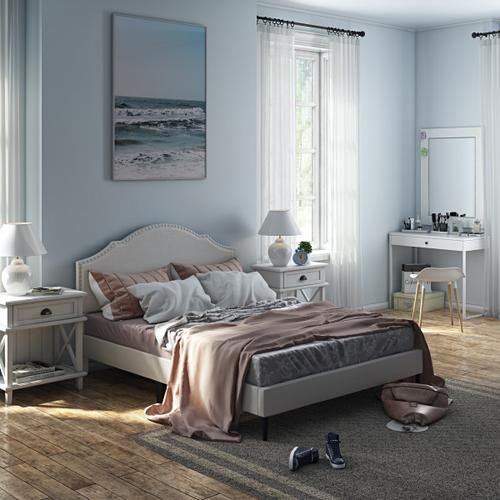 Accentrics Home - Nailhead Trim, Shaped Full Upholstered Platform Bed in Natural Gray