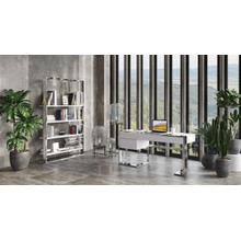 Modrest Fauna - Modern White High Gloss & Stainless Steel Desk