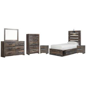 Twin Panel Bed With 4 Storage Drawers With Mirrored Dresser, Chest and 2 Nightstands