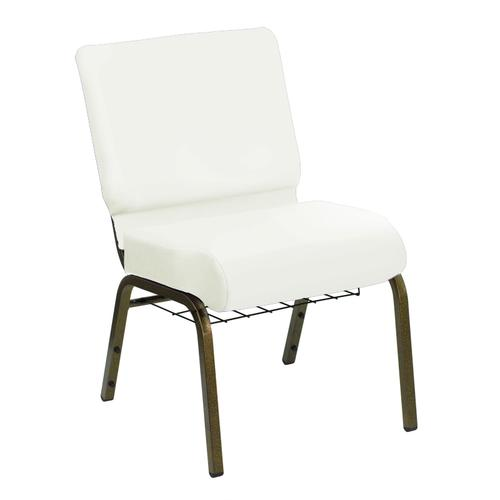HERCULES Series 21''W Church Chair in E-Z Wallaby White Vinyl with Book Rack - Gold Vein Frame