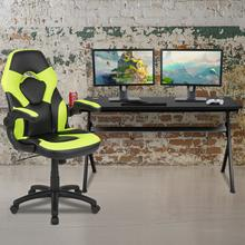 Gaming Desk and Green\/Black Racing Chair Set \/Cup Holder\/Headphone Hook\/Removable Mouse Pad Top - 2 Wire Management Holes