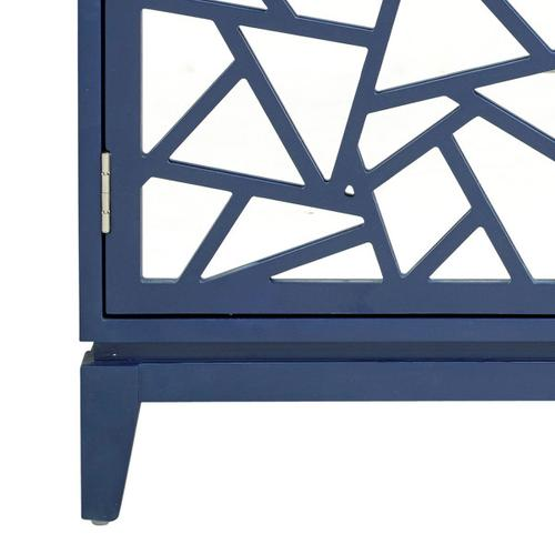 Mosiac Mirrored Two Door Accent Chest in Vivid Blue