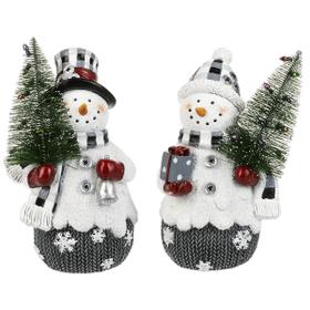 Snowmen with Christmas Tree Figurines (4 pc. ppk.)