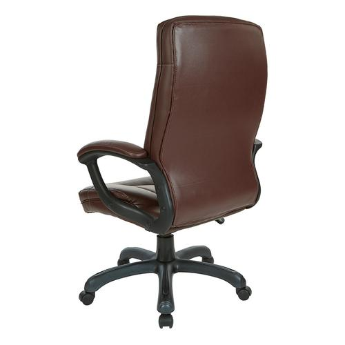 Office Star - High Back Faux Leather Manager's Chair With Padded Arms and Black Nylon Base