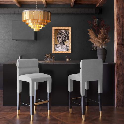 Tov Furniture - Taylor Grey Velvet Barstool