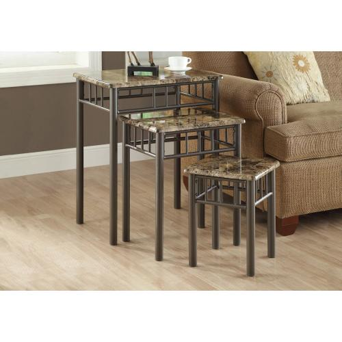 NESTING TABLE - 3PCS SET / ESPRESSO MARBLE / METAL