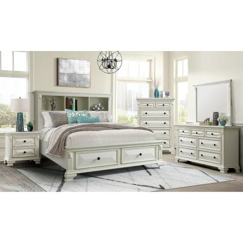 Calloway Black Bookcase Bedroom - Full Bookcase Storage Bed, Dresser, Mirror, Chest, and Nightstand