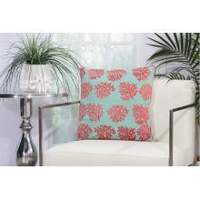 "Outdoor Pillows L1520 Aqua/coral 18"" X 18"" Throw Pillow"