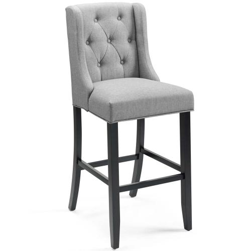 Baronet Tufted Button Upholstered Fabric Bar Stool in Light Gray