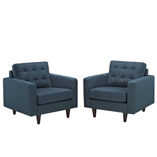 Modway - Empress Armchair Upholstered Fabric Set of 2 in Azure