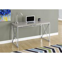 "COMPUTER DESK - 48""L / DARK TAUPE / CHROME METAL"