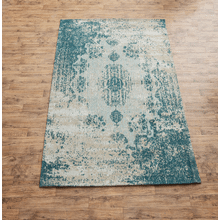 Turquoise Antique Wash Medallion 5' x 8' Jacquard Woven Rug