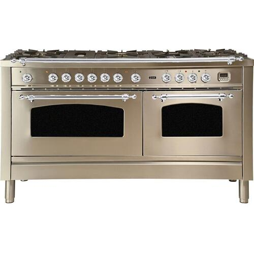 Nostalgie 60 Inch Dual Fuel Natural Gas Freestanding Range in Stainless Steel with Chrome Trim