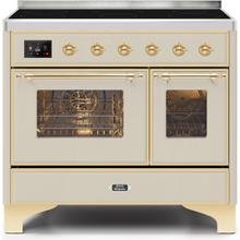 Majestic II 40 Inch Electric Freestanding Range in Antique White with Brass Trim