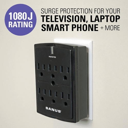 On Wall Surge Protector with 6 AC Outlets