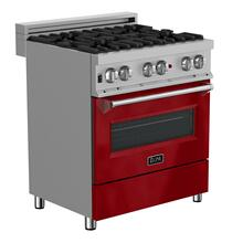 """See Details - ZLINE 30"""" 4.0 cu. ft. Dual Fuel Range with Gas Stove and Electric Oven in DuraSnow® Stainless Steel (RAS-SN-30) [Color: Red Gloss]"""
