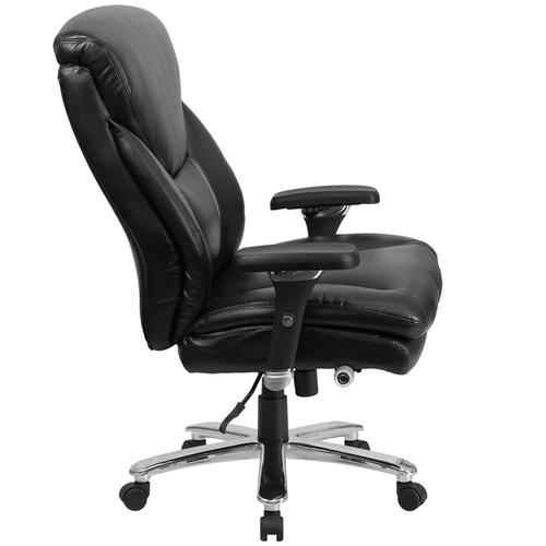 Gallery - HERCULES Series 24\/7 Intensive Use Big & Tall 400 lb. Rated Black LeatherSoft Ergonomic Office Chair with Lumbar Knob