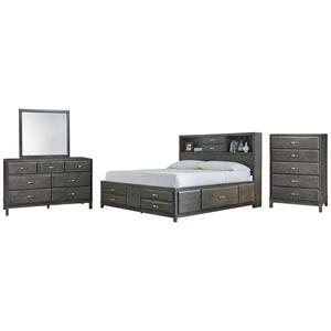 California King Storage Bed With 8 Storage Drawers With Mirrored Dresser and Chest