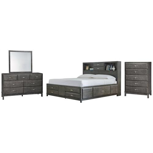 Ashley - California King Storage Bed With 8 Storage Drawers With Mirrored Dresser and Chest