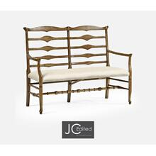 See Details - Double Triangular Ladderback Medium Driftwood Bench, Upholstered in Skipper