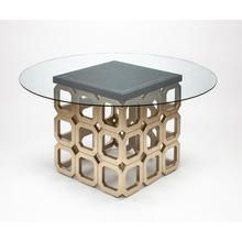 """Dining Table Base with Glass 28x28x30"""", Glass top dia.60"""" & 1/2"""" thickness"""
