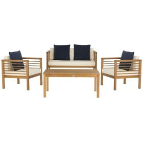 Alda 4-pc Outdoor Set With Accent Pillows - Natural / White / Navy