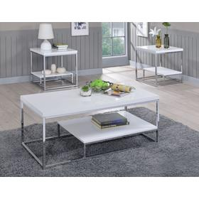 Lucia White 3-Piece Set (Cocktail & 2 End Tables)