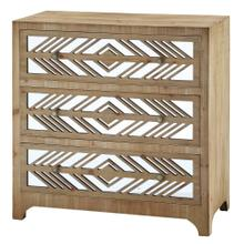 Declan Rustic Wood and Mirror Pattern 3 Drawer Chest