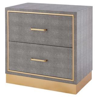 Edinburgh Faux Shagreen End table 2 drawers, Chronicle Gray/ Gold