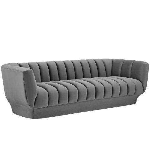Entertain Vertical Channel Tufted Performance Velvet Sofa in Gray