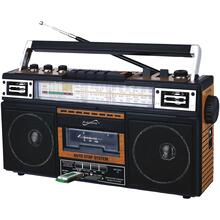 Retro 4-Band Radio and Cassette Player with Bluetooth® (Wood)