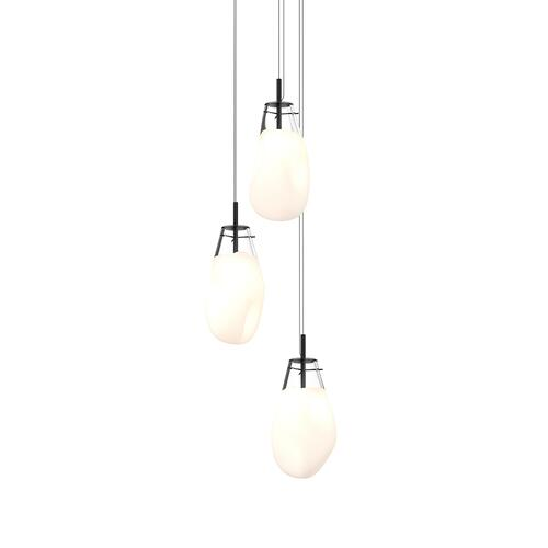 Sonneman - A Way of Light - Liquid LED Pendant [Size=3-Light Large, Color/Finish=Satin Black w/Poured White Glass, Shape=Round Canopy]