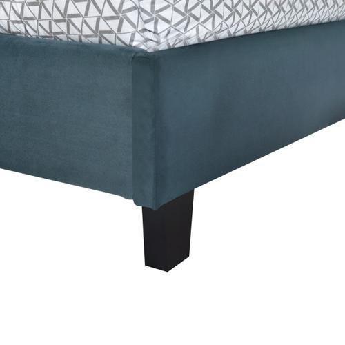 Accentrics Home - Nailhead Marquee Upholstered Full Bed in Jasper Blue