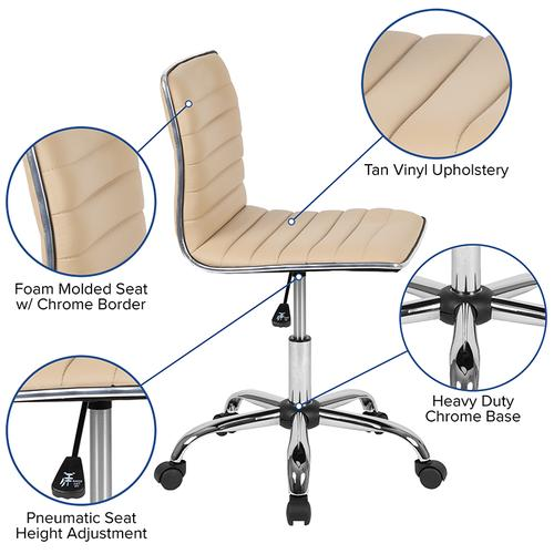 Gallery - Low Back Designer Armless Tan Ribbed Swivel Task Office Chair