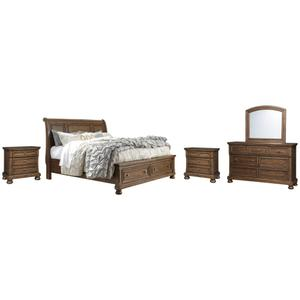 Queen Sleigh Bed With 2 Storage Drawers With Mirrored Dresser and 2 Nightstands
