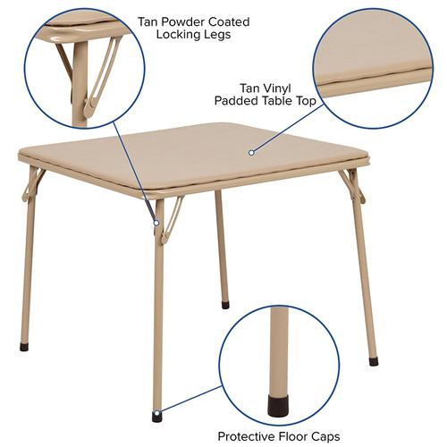 Flash Furniture - Kids Tan 3 Piece Folding Table and Chair Set