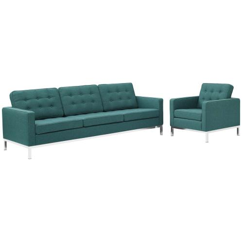 Loft 2 Piece Upholstered Fabric Sofa and Armchair Set in Teal