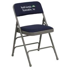 Embroidered HERCULES Series Curved Triple Braced & Quad Hinged Navy Fabric Upholstered Metal Folding Chair