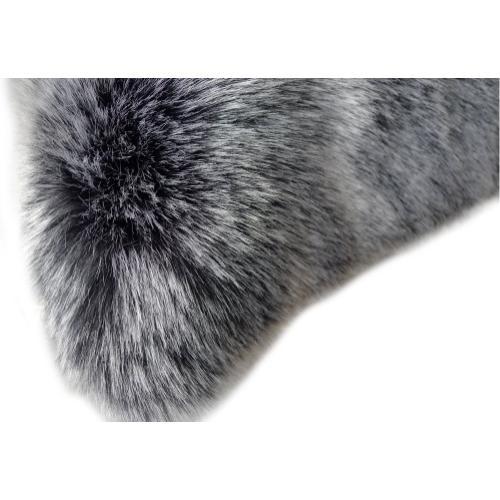 "7th Ray Dip Dye Modern Faux Fur Throw by Rug Factory Plus - 50"" x 60"" / Gray White"