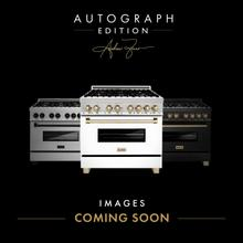 """See Details - ZLINE Autograph Edition 48"""" 6.0 cu. ft. Dual Fuel Range with Gas Stove and Electric Oven in Stainless Steel with White Matte Door with Accents (RAZ-WM-48) [Color: Champagne Bronze]"""