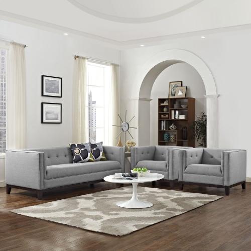 Modway - Serve Living Room Set Set of 3 in Light Gray