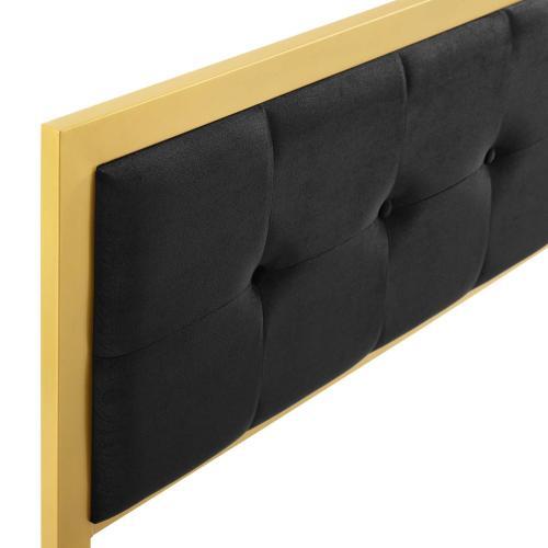 Modway - Teagan Tufted Twin Performance Velvet Headboard in Gold Black