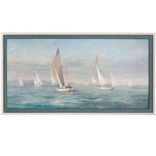 Style Craft - WEEKEND SAIL  52in w X 28in ht  Textured Framed Print  Made in USA