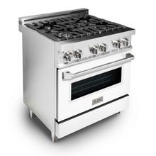 """See Details - ZLINE 30"""" 4.0 cu. ft. Dual Fuel Range with Gas Stove and Electric Oven in Stainless Steel with Color Door Options (RA30) [Color: White Matte]"""