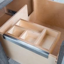 See Details - Add-on hanging organizer made of baltic birch in natural finish and brushed stainless steel bracket.