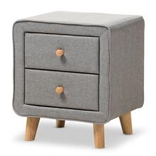 See Details - Baxton Studio Jonesy Mid-Century Grey Fabric Upholstered 2-Drawer Nightstand